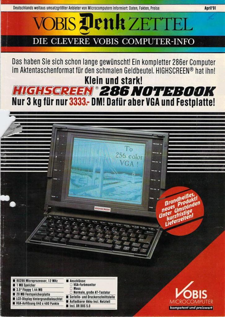 Vobis Denkzettel Jahr 1991 Nr. 01